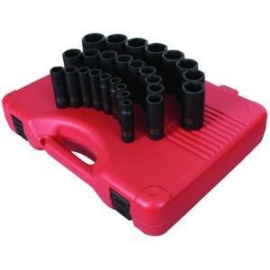 (Sunex 2646, 1/2 Inch Drive Deep Impact Socket Set, 26-Piece, Metric, 10mm-36mm, Cr-Mo Alloy Steel, Radius Corner Design, Heavy Duty Storage Case)