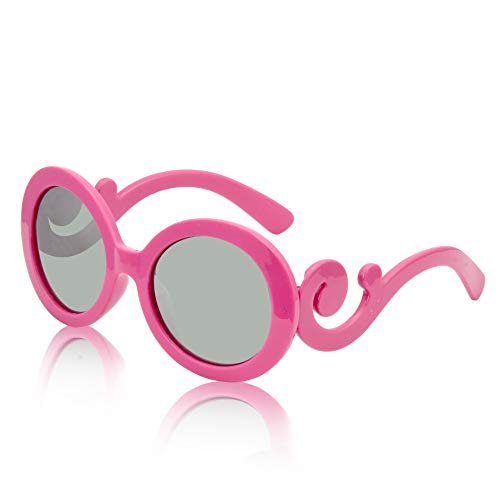 Round Sunglasses for Women Big Designer Baroque Swirl Temple Uv400 Protection (kids Hot pink)