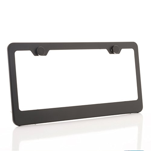 One Matte Black T304 Stainless Steel License Plate Frame Holder Front Or Rear Bracket with Aluminum Screw Cap