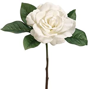 11″ Gardenia Silk Flower Corsage Stem Pick -Cream (Pack of 12)