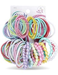 Goody - Girls Assorted Elastics, No Metal Ouchless, (60 Count) (Color May Vary) (2 Pack)