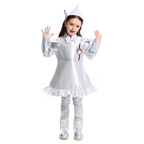 LOLANTA 4 PC Wizard of Oz Tin Man Costume for Girls Kids Story Character Cosplay Outfits (6X-7) Silver