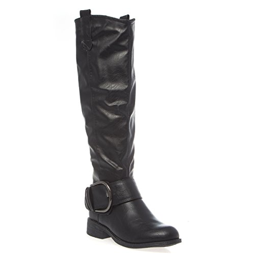 V-Luxury Womens 40-ZIP6 Closed Toe Knee High Low Heel Riding Boot Shoes, Black PU Leather, 8 B (M) US