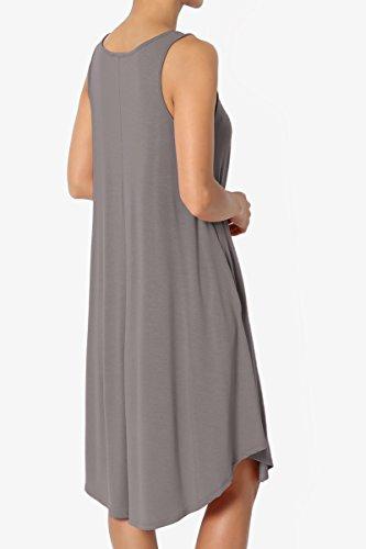 Trapeze Shirt Loose Jersey TheMogan Dress T Knit Basic Pocket Sleeveless Tank Grey 6f6wUq