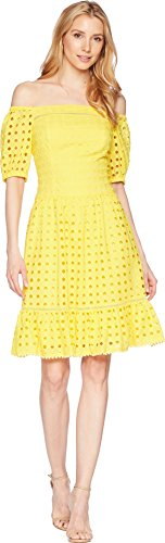Donna Morgan Women's Off The Shoulder Eyelet Dress, Sunny Yellow, 10