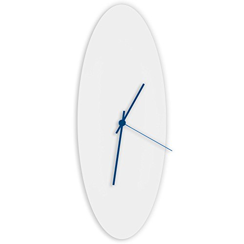 Contemporary White Clock 'Whiteout Blue Ellipse Clock' Minimalist Metal Wall Clocks, Midcentury Modern Decor - 18x7in. White w/ Blue Hands