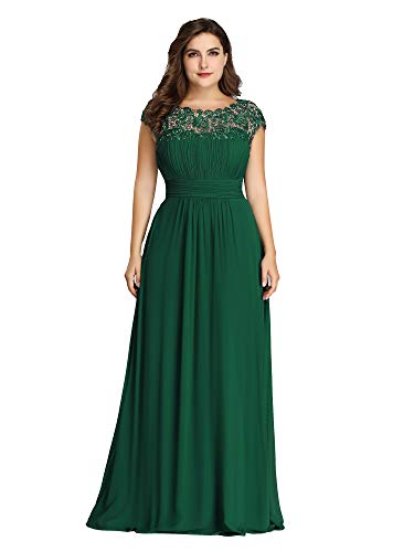 Ever-Pretty Womens Floral Lacey Plus Size Long Maxi Wedding Guest Bridesmaid Dresses Green US 16