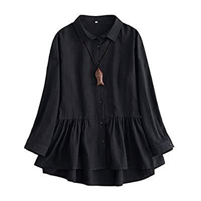 Mordenmiss Women's Linen Shirts Pleated Long Sleeve Tunic Tops Button-Down Jackets at Women's Clothing store