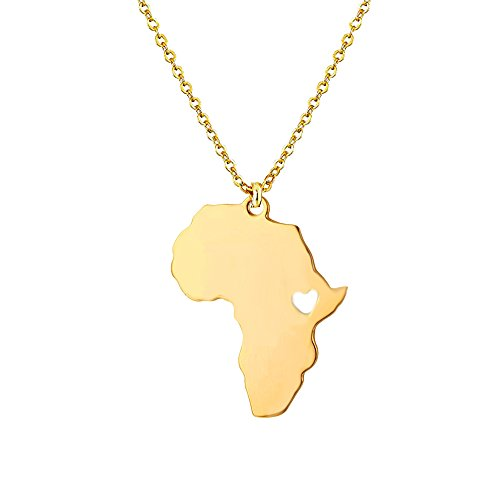 Cute Africa Map Heart Shape Pendant Necklace for Girl and Women (Gold)