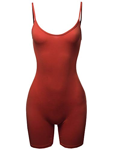 Awesome21 Solid Spaghetti Strap Sexy Bodysuit Biker Short Jumpsuit Rust L ()