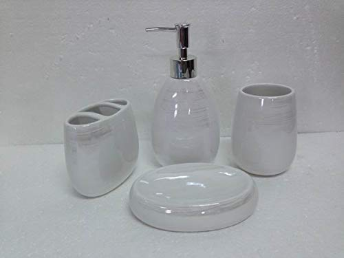 Luxury Home Fashion 4 Piece Elegant Two Toned Bathroom Accessory Set: Soap Dispenser Pump, Toothbrush Holder, Tumbler, Soap Dish #902 (Pearl White)
