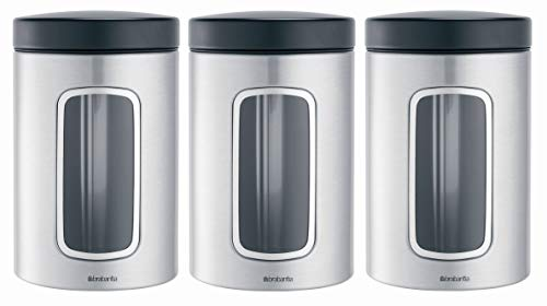 (Brabantia 335341 3-Piece Window Canister Set, 1.4-Liter, Matte Steel Fingerprint Proof with Black Lid)