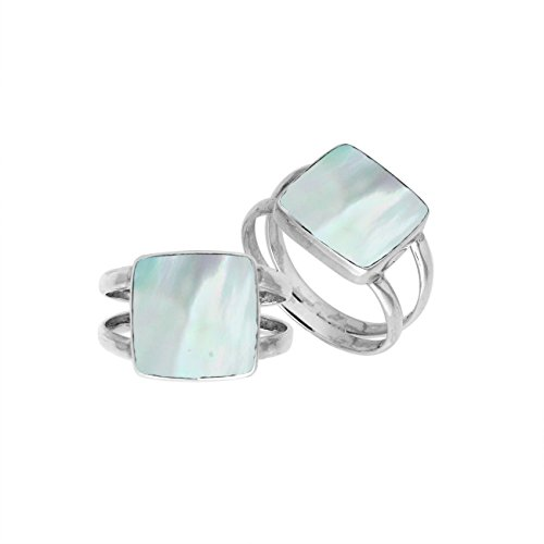 (Sterling Silver Square Shape Ring with Mother of Pearl AR-6222-MOP-7'')