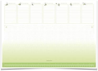 Eine Schreibtischunterlage im grün-weißen Design, Tischunterlage aus Papier zum Abreißen DIN A3 der lustige Wochenplaner.