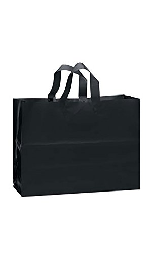 Frosted Plastic Case - Large Black Frosted Plastic Gift Bags - Case of 25