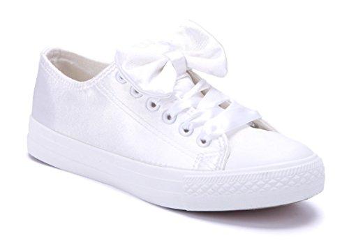 85201fab51d8cb Schuhtempel24 Damen Schuhe Low Sneaker Flach Zierschleife Weiß - liv ...