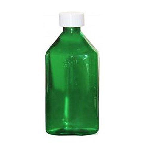 Amexdrug Oval Plastic Bottles - 8 oz - Green - Child Resistant Caps - 12 pcs (Medicine Bottle, Pharmacy Bottle, Liquid Medicine)