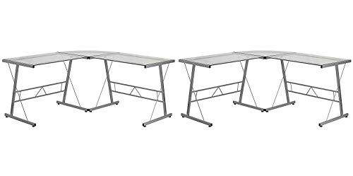 Flash Furniture Glass L-Shape Computer Desk with Silver Frame Finish Pack of 2
