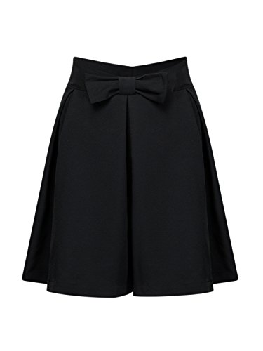 PERSUN Women Black Bowknot Waist Pleat Detail Skater Skirt,L