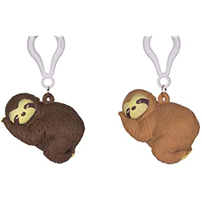 Store On Wheels Naughty Pooping Animals - Set of 2 Pooping Sloths w/ Carabiner Clip: Toys & Games