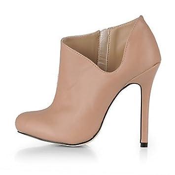 Heart&M Mujer Zapatos PU Otoño Botas de Moda Botas Dedo redondo Botines Hasta el Tobillo Para