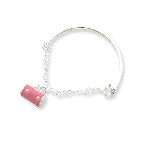 Pink Enameled Purse (Mia Diamonds 925 Sterling Silver Children Child Youth Pink Enameled Purse Children Child Youth Bangle 5.5- (5.5in x 3mm))