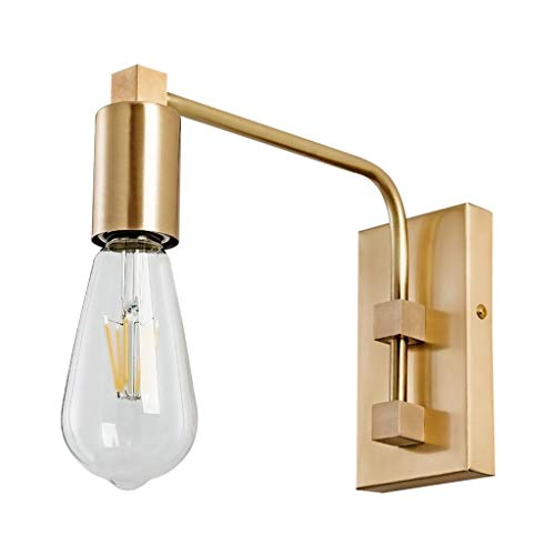 NJ Wall lamp- Brass Wall Lamp Simple Bedroom Bedside Wall Lamp Mirror Headlights Living Room Wall Lighting (Color : Brass, Size : -