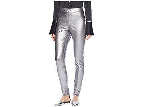 Sweater Metallic Nylon (HUE Women's Fashion Denim Leggings, Assorted, Iridescent Metallic - Gunmetal M)