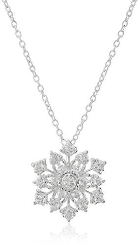 Hallmark Jewelry Sterling Silver Cubic Zirconia Snowflake Pendant Necklace, 18
