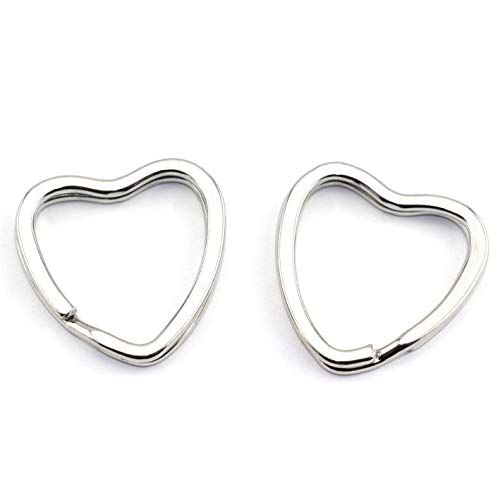 - Lind Kitchen 10pcs Creative Flat Key Ring DIY Keychain Accessories Metal Key Split Ring Silver Heart Shape