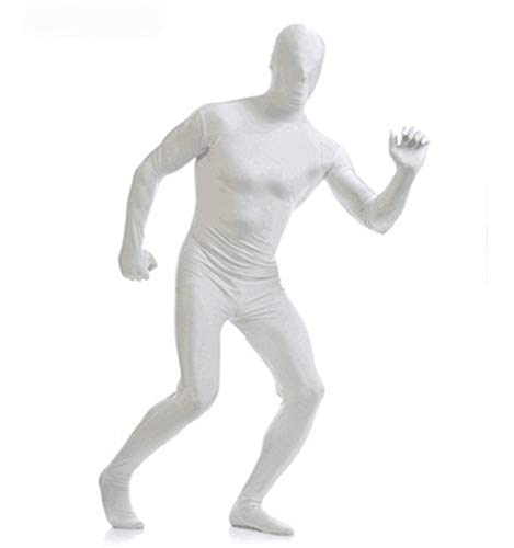 Halloween Costume Party Invisible Man Costume Ninja Plays Stealthsuit Adult Black People Child Tights (White, XXL) -