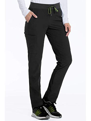 (Med Couture Air Scrubs for Women, Yoga 2 Cargo Pocket Pant, Black/Apple,)