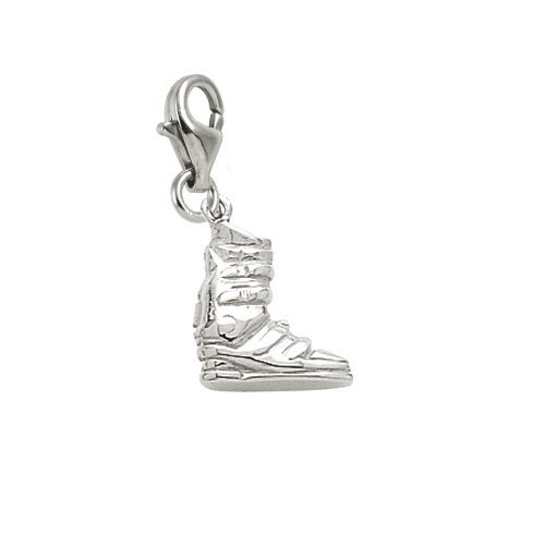 Rembrandt Charms Ski Boot Charm with Lobster Clasp, 14k White Gold