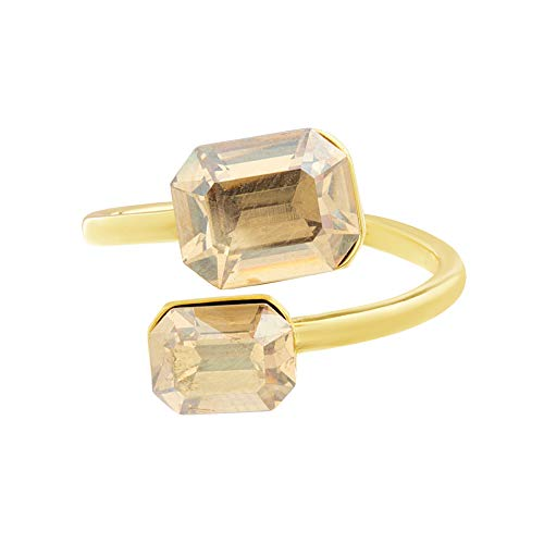 (Devin Rose Bypass Emerald Cut Ring for Women in Yellow Gold Plated Brass with Swarovski Crystal (Golden Shadow Size 7
