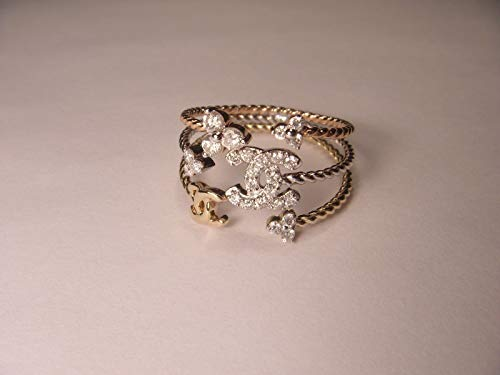 (Gorgeous 14K White 2-Tone Gold Chanel Diamond Band Ring )