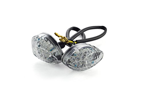 TST Industries LED Front Flushmount Turn Signals for Honda CBR600RR CBR1000RR F4 F4i CBR500R Grom (Clear Lens) (Honda Cbr500r Accessories)