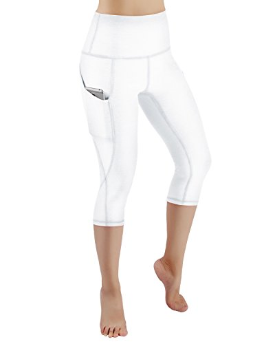 ODODOS High Waist Out Pocket Yoga Capris Pants Tummy Control Workout Running 4 Way Stretch Yoga Capris Leggings,White,XX-Large