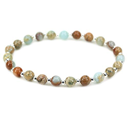 (AMANDASTONES Natural Serpentine Gemstone 6mm Round Beads S925 Silver Stretch Bracelet 7