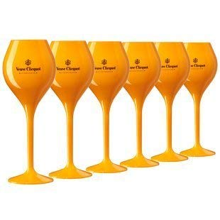 6x Veuve Clicquot Yellow Trendy Champagne Flutes Polycarbonate Acrylic Poolside Glasses Goblets (Small Edition) (Best Champagne Veuve Clicquot)