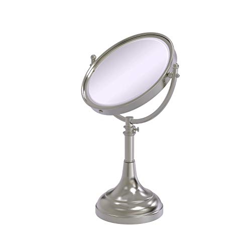Allied Brass DM-1/4X-SN 8-Inch Table Mirror with 4x Magnification, Satin Nickel