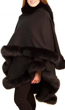 Black Cashmere Cape with Black Fox Fur Trim by cashmere