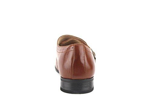 Majestic Mens 98102 Unique Monkstrap Bout Pointu Mocassins Robe Chaussures Cognac
