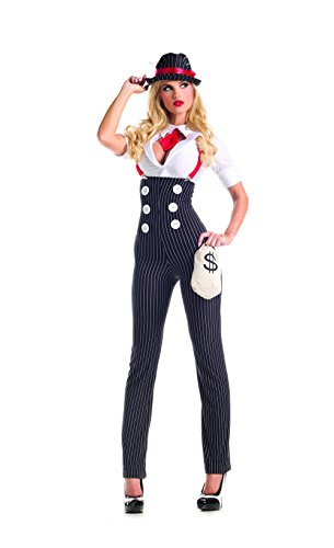 Party King Women's Heist Hottie Sexy Costume Set, White/Black, Medium -