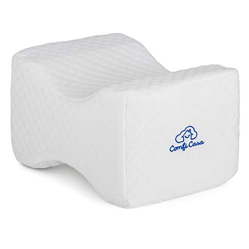 ComfiCasa Memory Foam Knee Pillow - Orthopedic Knee Support Pillow for Hip Pain, Chronic Back Pain, Sciatica Relief & Scoliosis - Wedge Contour Leg Pillow for Side Sleepers