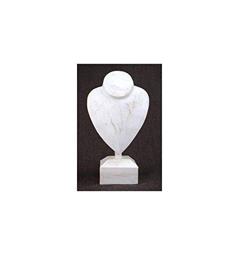 Busto espositore a Fascette su base in legno finitura bianco cérusé H30cm Artisanal