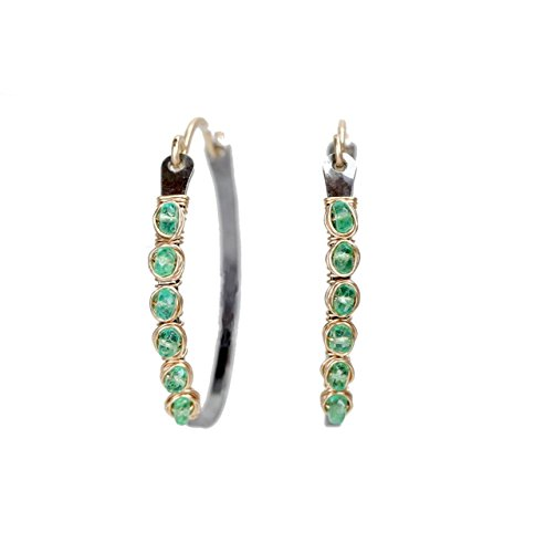 Fine Colombian Emerald (Colombian Emerald Hoop Earring Sterling Silver Hoop Real Emerald Oxidized Silver- 1