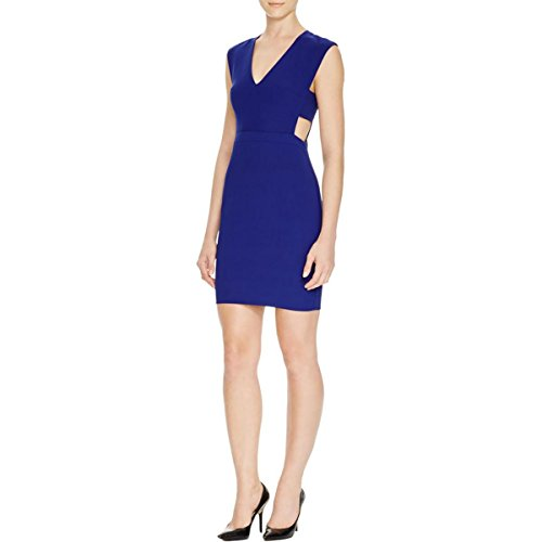 Nicole Miller Womens V-Neck Cut-Out Cocktail Dress Navy 4
