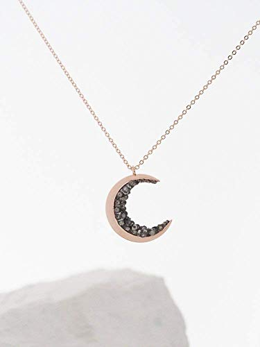 Encrusted Rose - Rose Gold Plated Crescent Moon Encrusted with Black Crystals Jewels Long Necklace