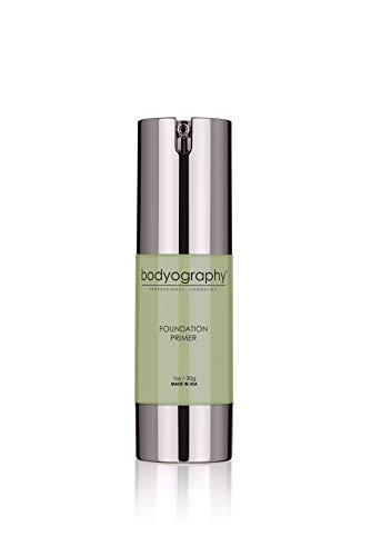 Bodyography Foundation Primer (Green): Flawless Anti-Aging Salon Makeup Primer with Vitamin E, A, Jojoba, Grapeseed Oil | Control Shine | Gluten-Free, Cruelty-Free, 1 oz.
