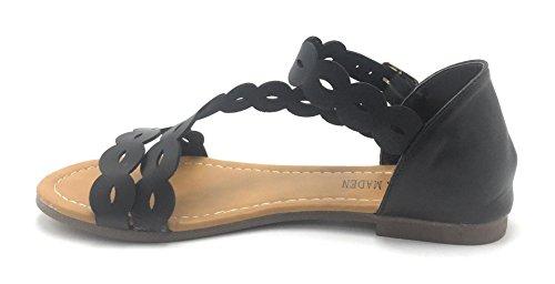 Kvinna Ny Gladiator Rhinestone Blomma T-bandet Platt Sandal Rem Skor Svart / B8333